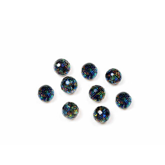10 facettierte Resincabochons als Perle in bunt, 6 mm