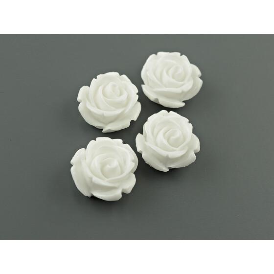 Cabochons als Blume in grau 15 mm 4 Stück von Vintageparts DIY-Schmuck