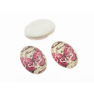 2 Motivcabochons Pink Butterfly aus Glas, 18 x 13mm