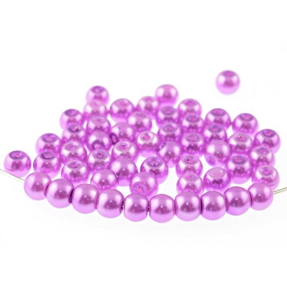 50 Glaswachsperlen 8mm silber grau metallic Perlen Glasperlen