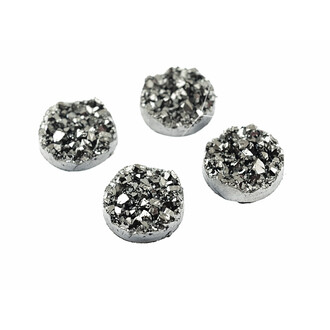 4 Cabochons Eiskristalle in platin, 12 mm