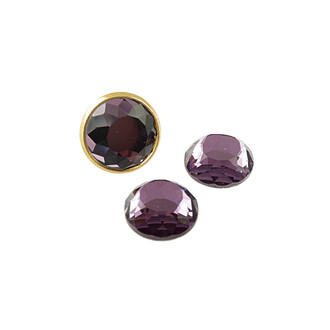 2 Glasschliffcabochons Sparkle in violett, 12 mm