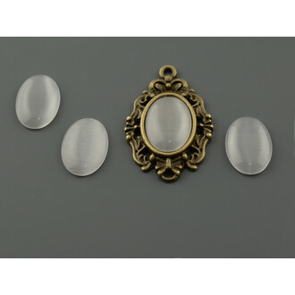 6 Cabochon Cateye Glas in hellgrau, 14 x 10 mm