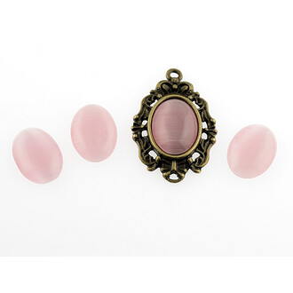 6 Cabochon Cateye Glas in rosa, 14 x 10 mm