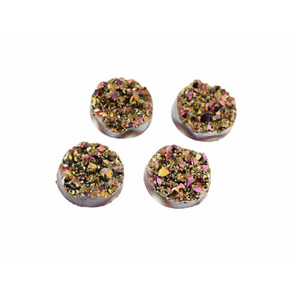 4 Cabochons Eiskristalle in gold-rosa, 12 mm
