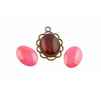 4 klare Glascabochons Candy in rot, 18 x 13 mm