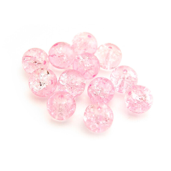 20 Crackle Glasperle 10 mm rosa
