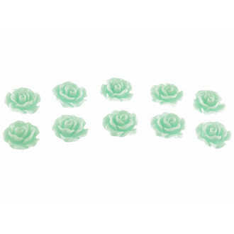 6 Cabochons als Rosen in mint, 10 mm