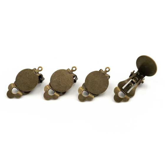 4 Ohrclips mit 12 mm Klebepad  in antik bronzefarben