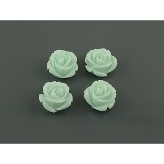 4 Cabochons als Rosen in mint, 16 mm