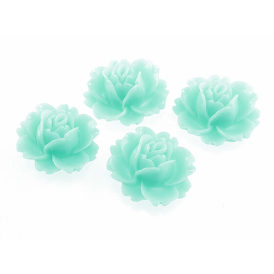 4 Cabochons Seerose in mint, 16 x 18 mm