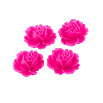 4 Cabochons Seerose in pink, 16 x 18 mm