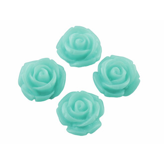 4 Cabochons als Rosen in aquamarin, 14 mm