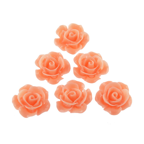 4 filigrane Cabochons als Rose in lachs, 15 mm
