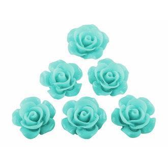 4 filigrane Cabochons als Rose in aquamarin, 15 mm