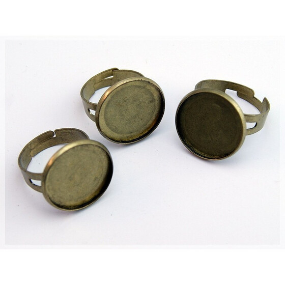 4 Ring Rohlinge in antik Bronze für 18 mm Cabochon