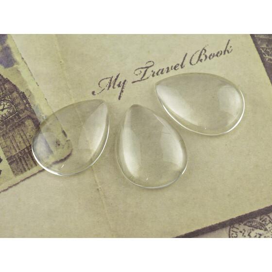 6 klare Hohlperlen aus Glas 20mm