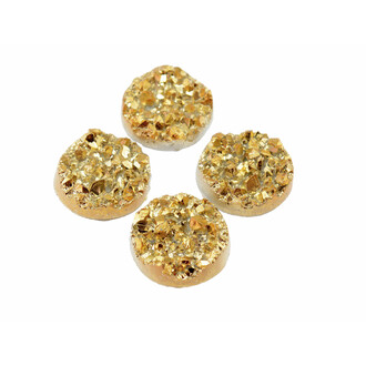 4 Cabochons Eiskristalle in gold, 12 mm