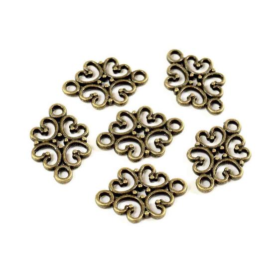 10 florale Verbinder  ~bronze~