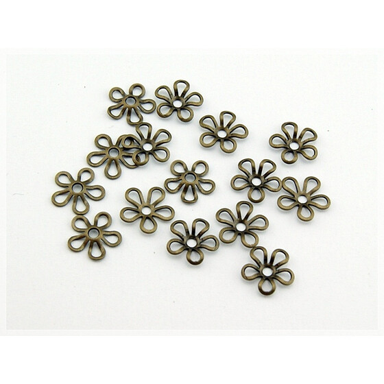 20 Blümchen Perlkappen in vintage Bronze 10 mm